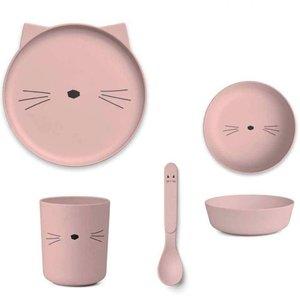 LIEWOOD roze bamboe servies cat